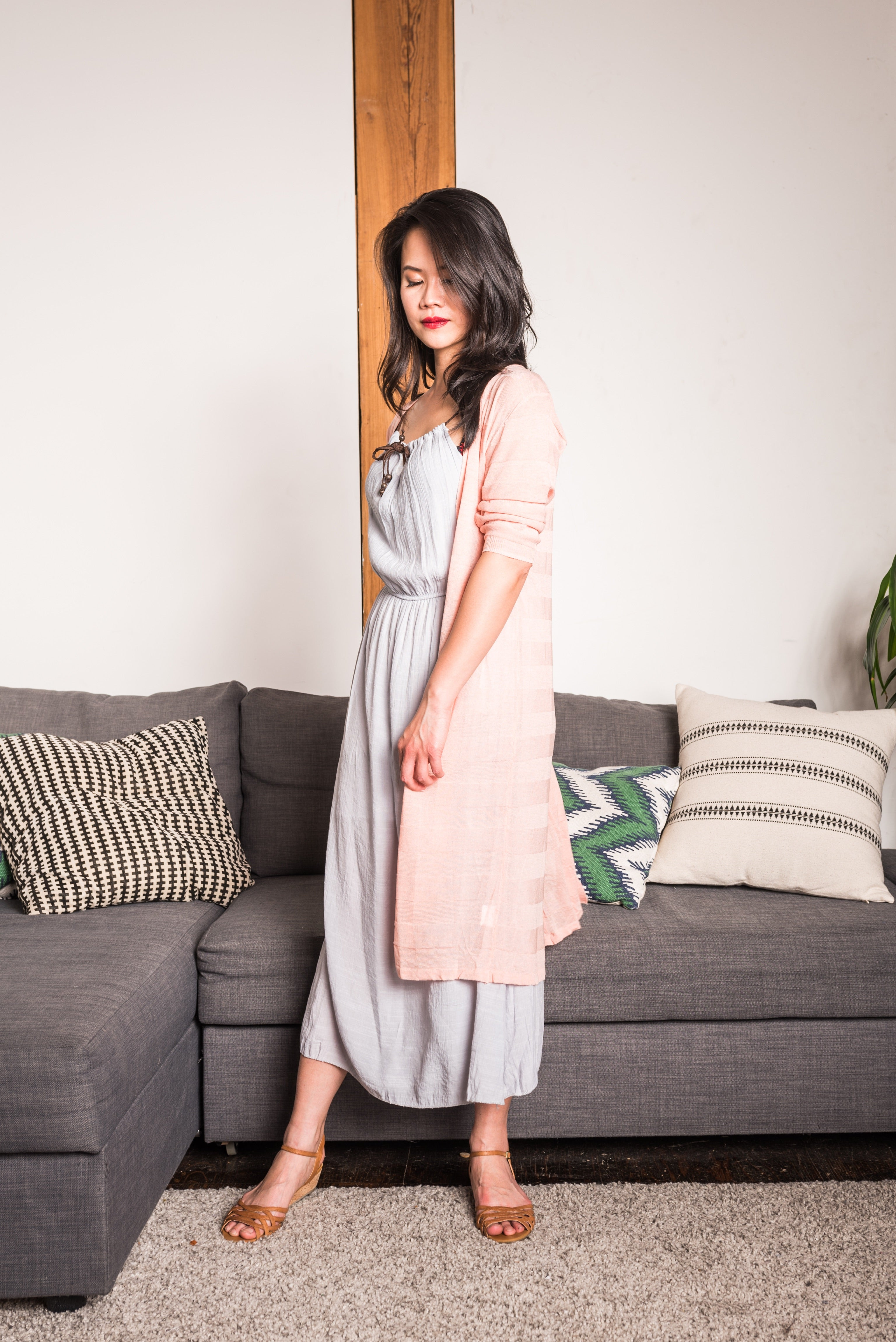 Pink V-Neck Button down Long Cardigan