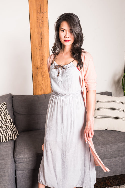 Light Grey Braided Maxi Dress!
