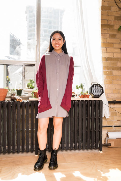 Grey Oversized Lightweight Shirt Dress with Dolman Sleeves!
