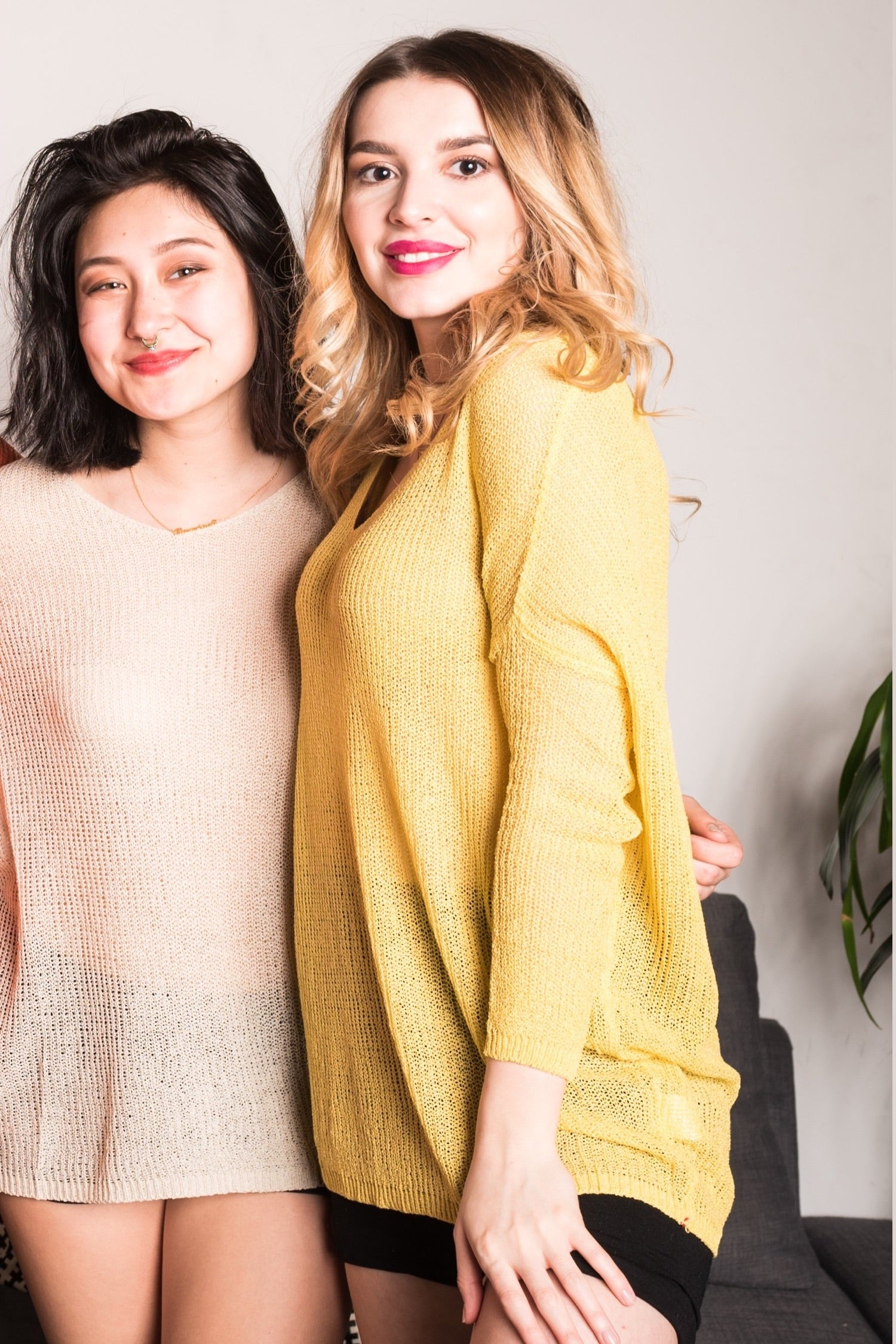 Yellow V-Neck Knit Top