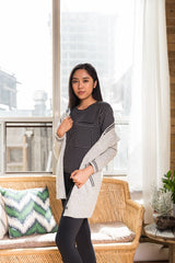 Light Grey Varsity Cardigan With long sleeves and Side Pockets