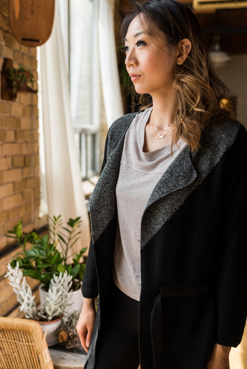 Black Open Front Cardigan With Tie Belt