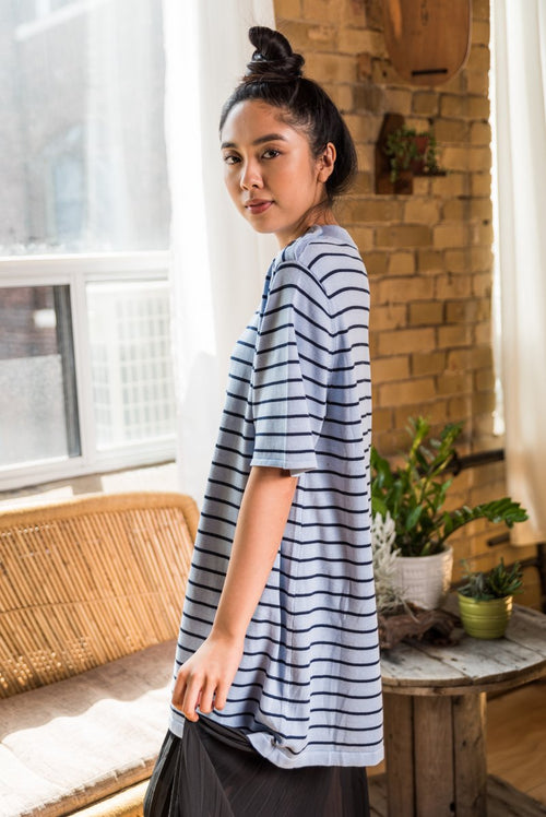 Blue Horizontal Striped Sweater Dress With Round Neck and buttoned shoulder!
