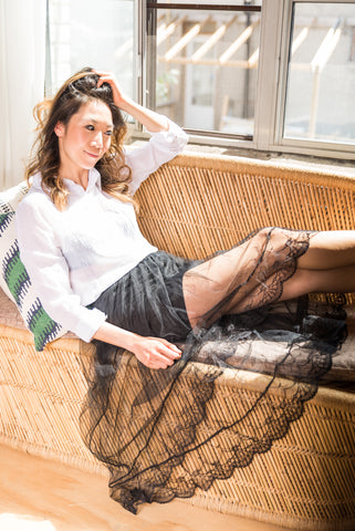 Black Semi-Sheer Skirt