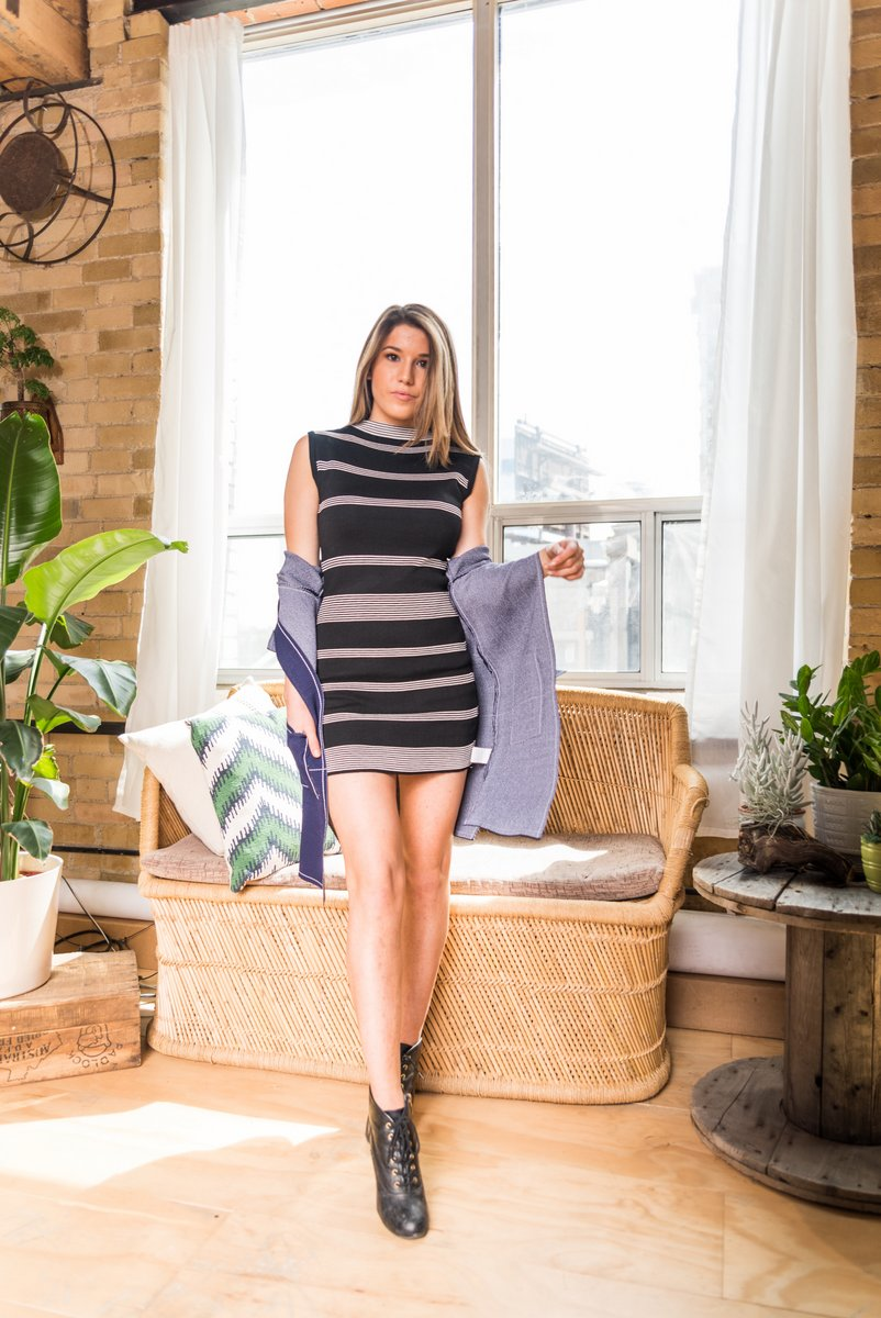 Black Striped Bodycon Mini Dress With Round Neck