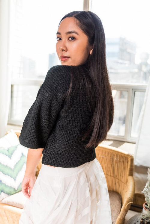 Black Crop Waffle Sweater With 3/4 bell sleeves!