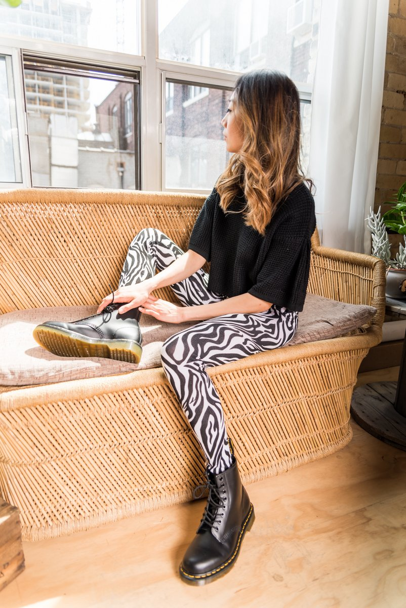 Zebra Printed Leggings With Elastic Waistband