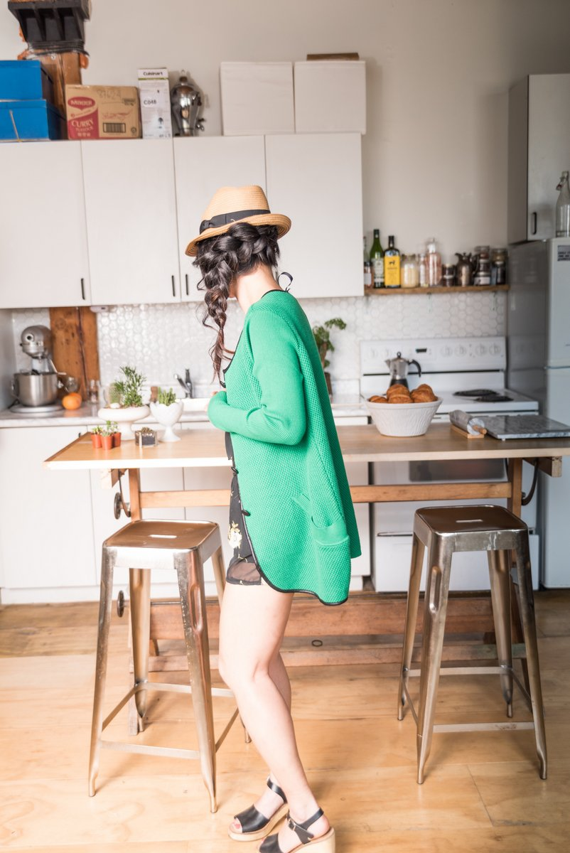 Green Classic Button Down Cardigan With Long Sleeves and two front Pockets