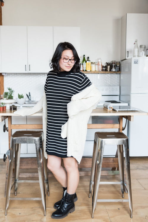 Black Horizontal Striped Sweater Dress With Round Neck and buttoned shoulder