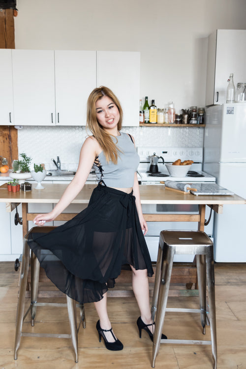 High Low Mesh Black Skirt With Transparent Pattern
