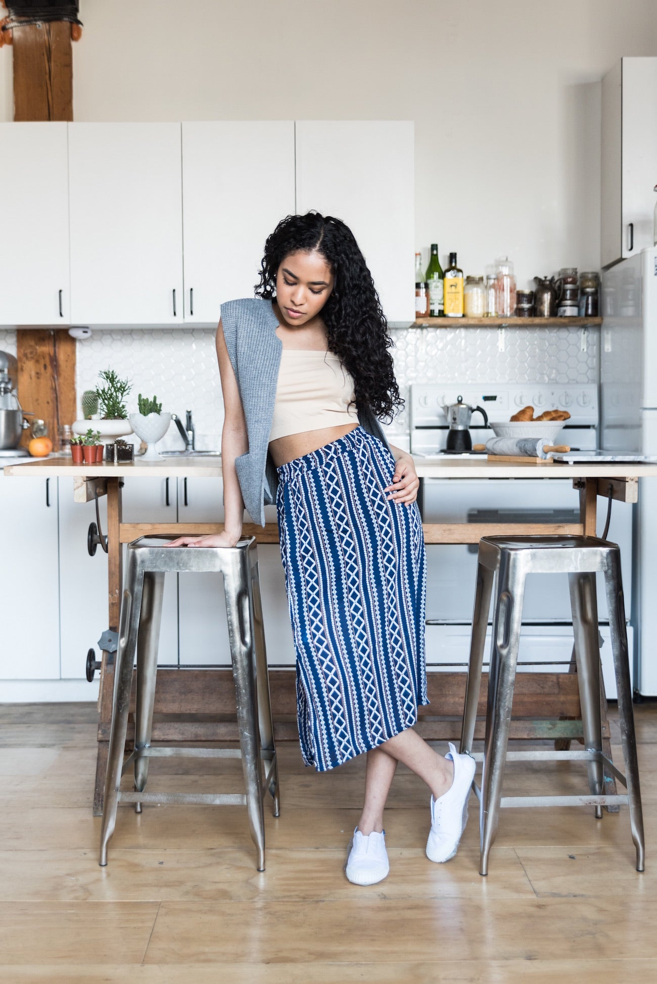 Blue Aztec Patterned Skirt With Comfortable Waistband