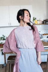 Fuzzy Pink Longline Cardigan made from Polyester With 3/4 Sleeves and Buttons
