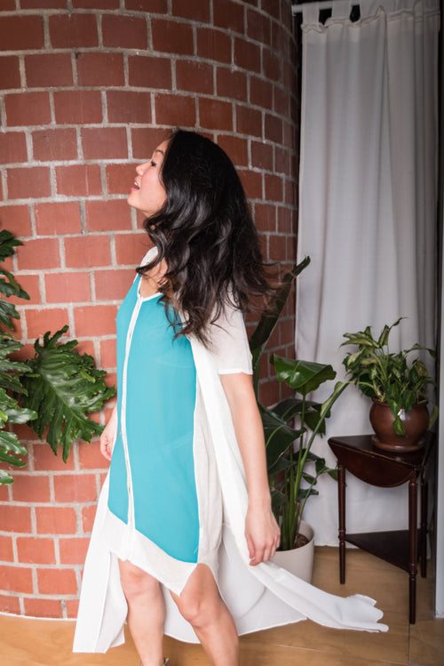 Sleeveless White & Teal Buttoned Dress With Sheer Front!