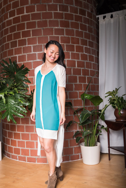 Sleeveless White & Teal Buttoned Dress With Sheer Front