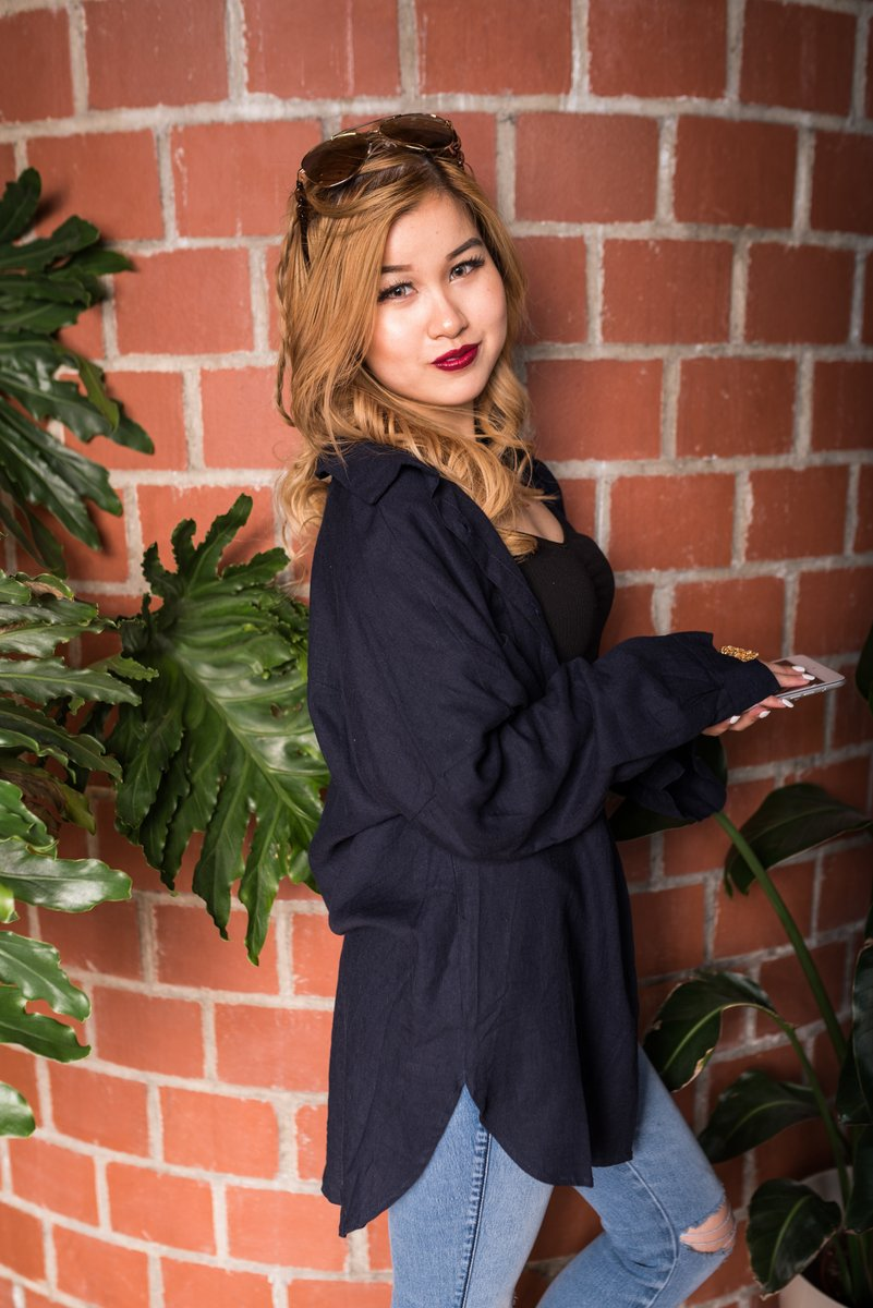 Navy Blue Boyfriend Shirt That Is Oversized Fit With Buttons