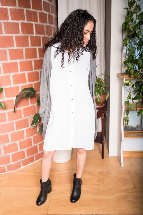 White Oversized Lightweight Shirt Dress with Dolman Sleeves!