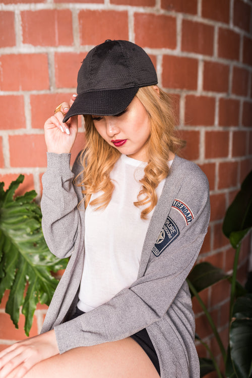 Grey Buttoned Cardigan With Patches
