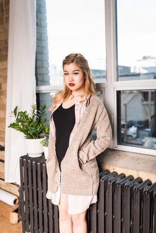 Beige Ribbed Open Front Cardigan