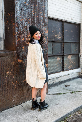 Light Brown Varsity Cardigan With Side Pockets