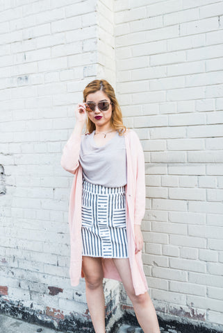 Grey Pocket Stripe Mini Skirt