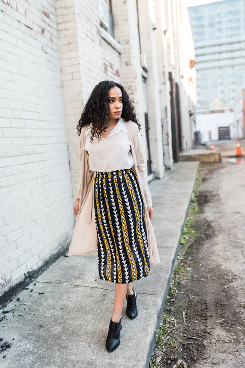 Navy Triangle Printed Midi Skirt