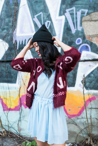 Blue Knitted Open Front Cardigan
