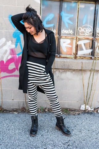 Black Wide Leg Striped Pants