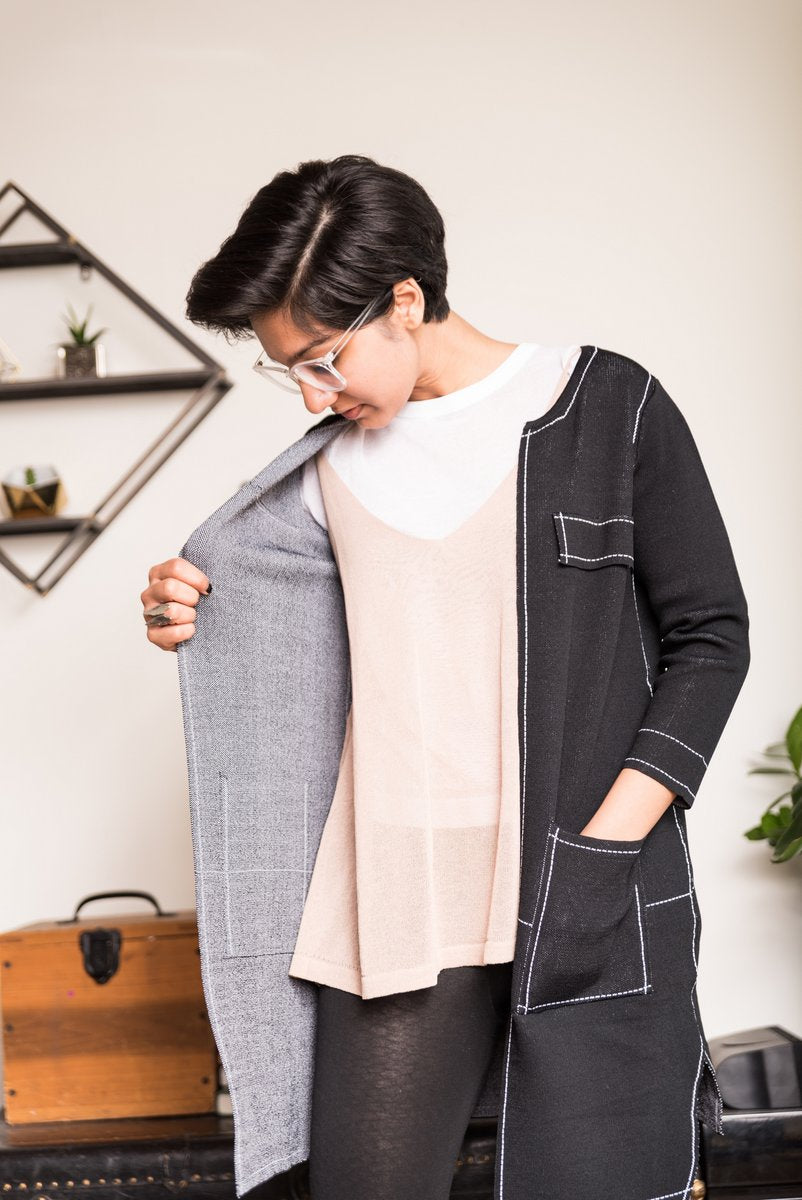 Black Open Front Cardigan With White Stitches and two front pockets