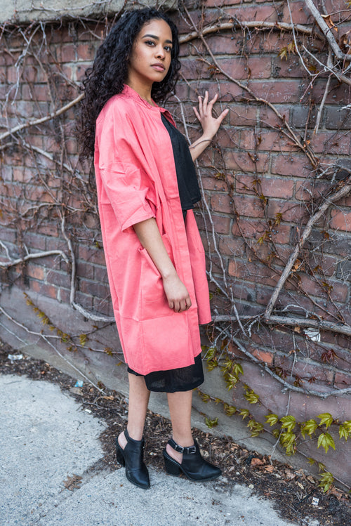 Hot Pink Boyfriend Shirt Jacket With Buttoned Collar