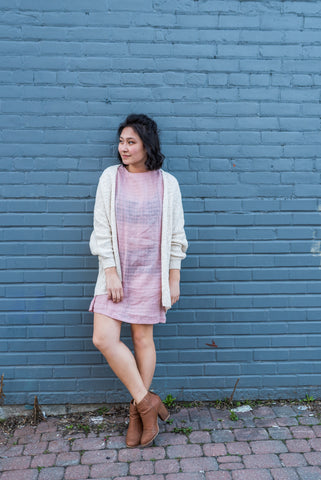 Long Beige Open Cardigan