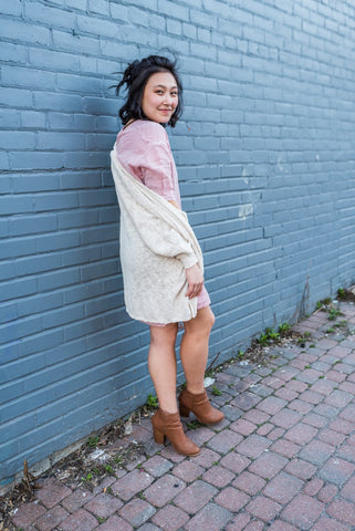 Grey Geometric Eyelet Knit Cardigan