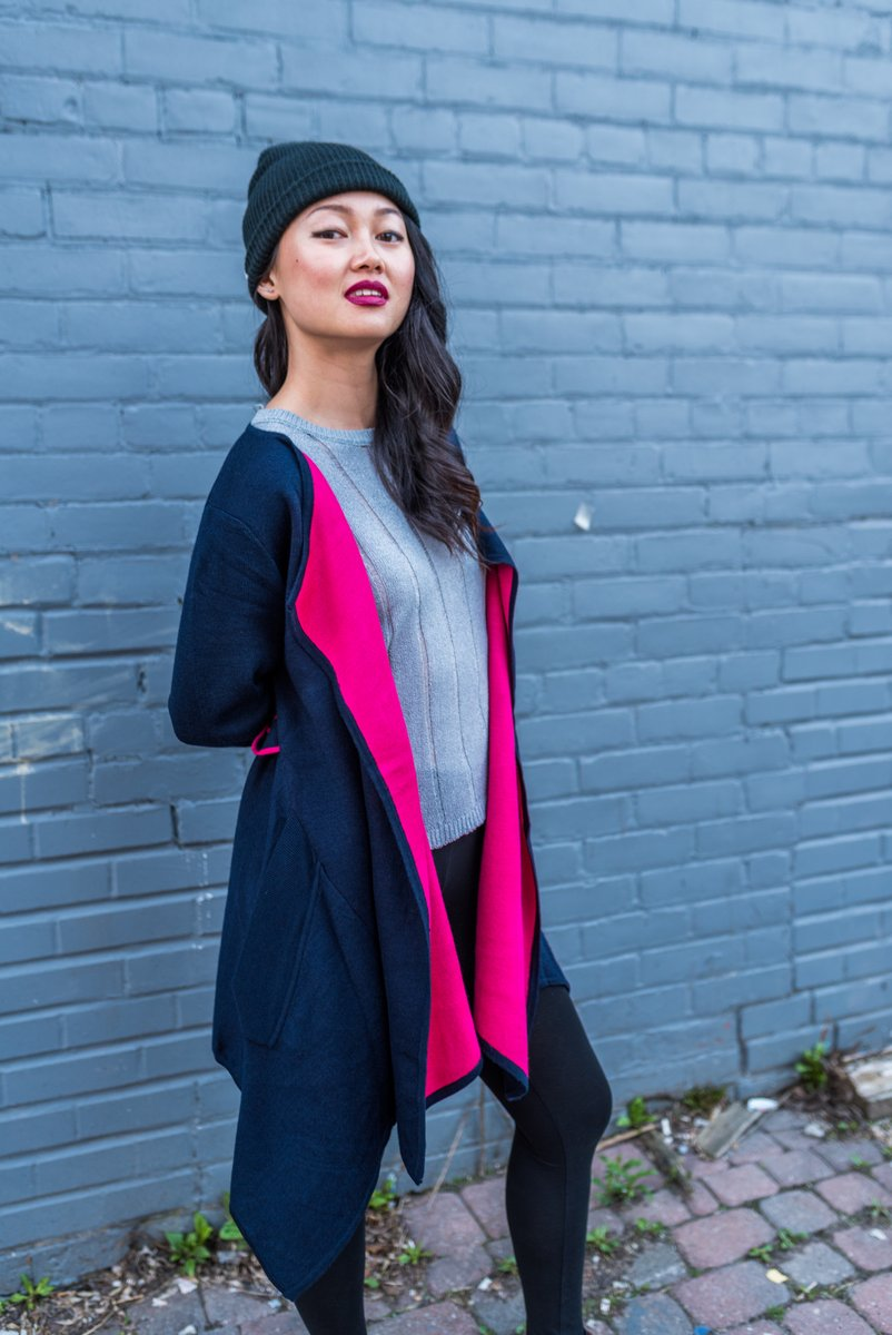 Navy and Pink Long Open Front Cardigan With Front Pockets