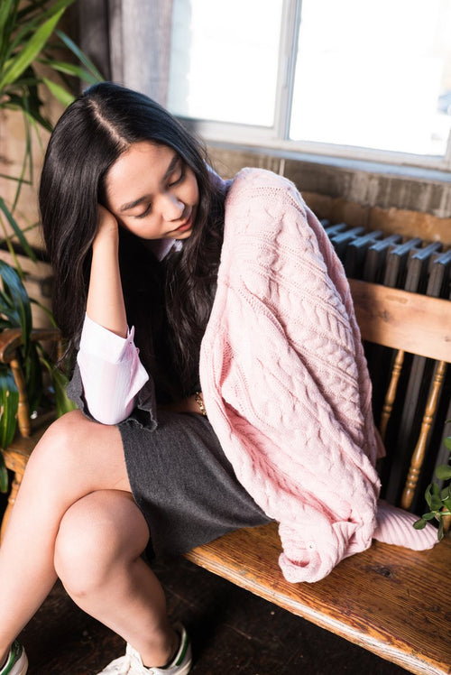 Pink Chunky Cable Knit Cardigan With Two Pockets For Winter