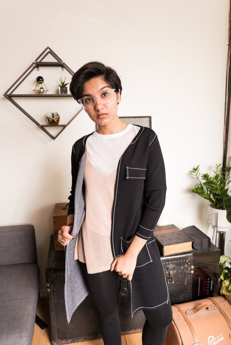 Black Open Front Cardigan With White Stitches