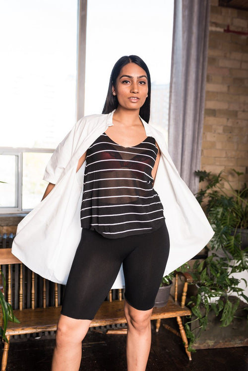 Black Striped Sheer Top With V-Neckline