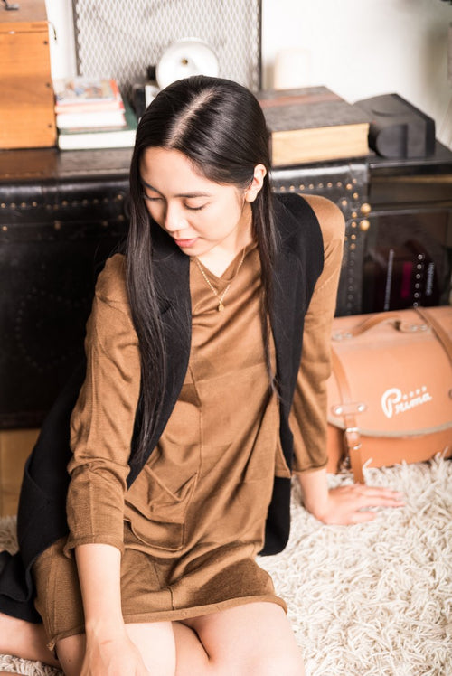 Brown Long Sleeved Tunic Shirt With Pockets!