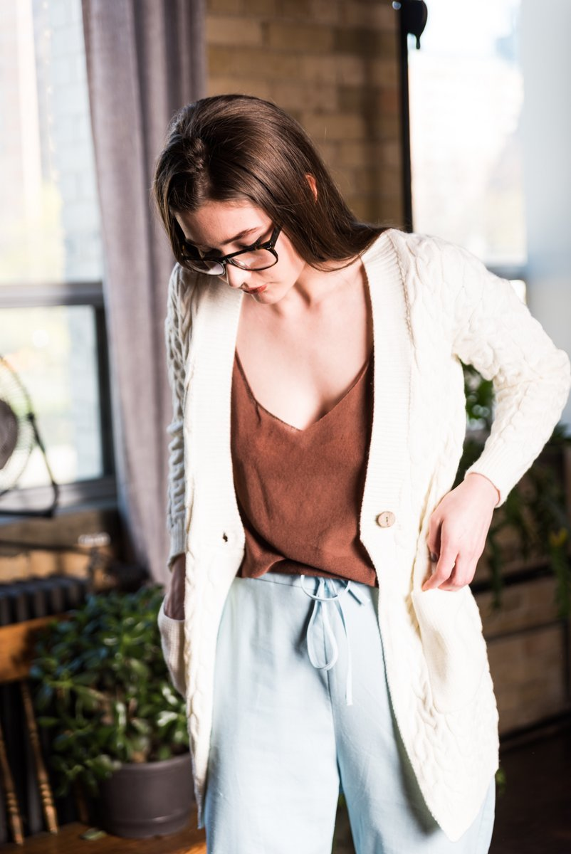 White Cable Knit One Button Cardigan With 2 Front Pockets
