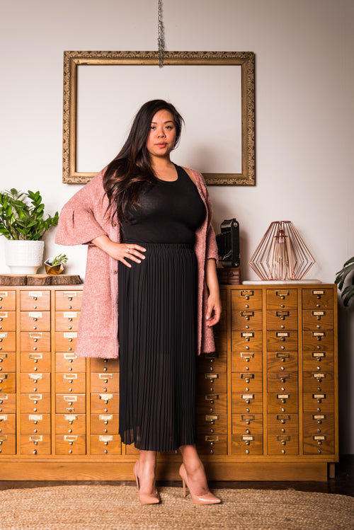 Black Maxi Pleated Skirt
