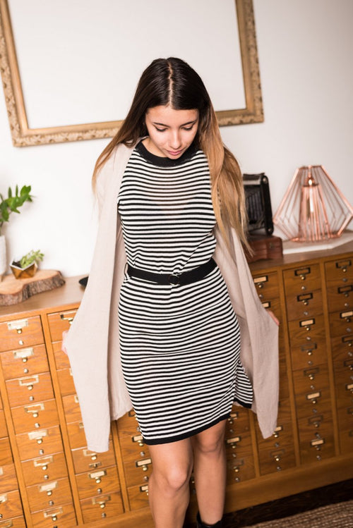 Striped Belted Bodycon Dress
