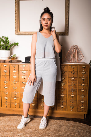 Beige Zip-Front Pants