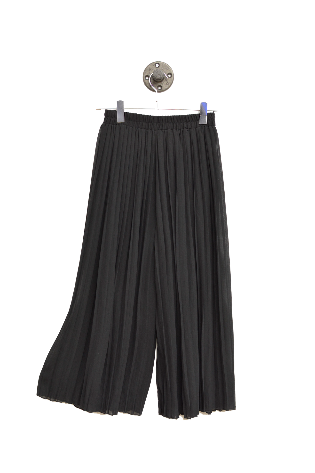 Black Sheer Pleated Culottes