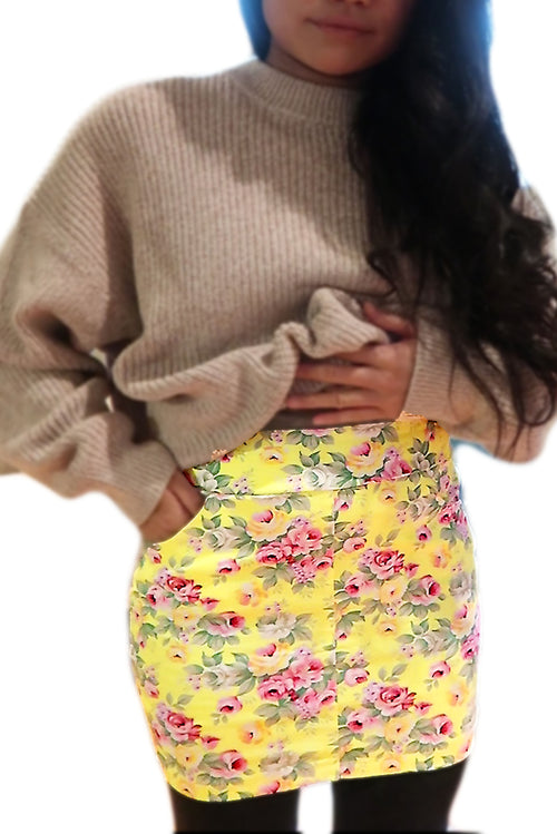 Yellow Flower Mini Skirt