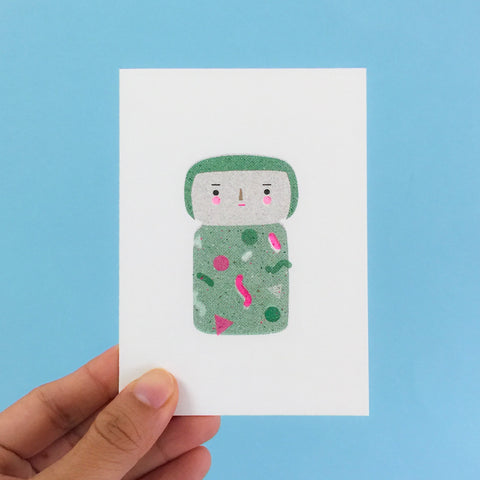 Kokeshi Greeting Card - Green