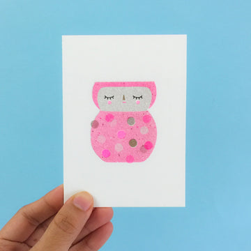 Pink Lady Greeting Card -Neon Pink