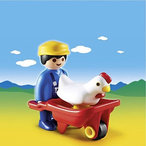 PLAYMOBIL 6793 1.2.3 Farmer with Wheelbarrow and Chicken
