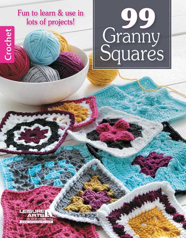 99 GRANNY SQUARES crochet book LEISURE ARTS