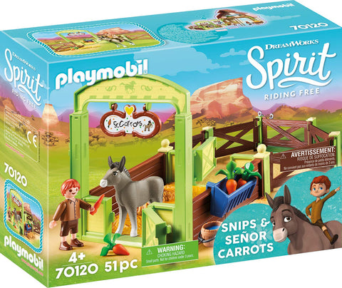 PLAYMOBIL 70120 SPIRIT RIDING FREE Snips with Senor Carrots & Stable