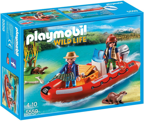 PLAYMOBIL 5559 WILDLIFE Inflatable Boat with Explorers