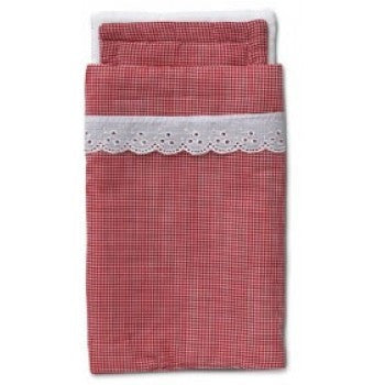 MICKI Red gingham pram bed linen set