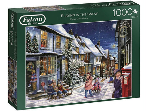FALCON Playing In The Snow 1000pc CHRISTMAS jigsaw puzzle